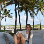 fashion blogger wearing shorts in miami beach