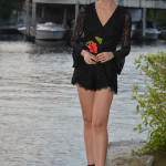 black lace romper heels