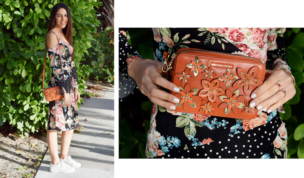 michael kors orange bag floral dress