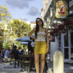 mustard mini skirt miami beach